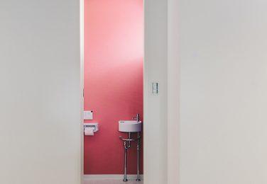 ピンクのクロスが映えるトイレ