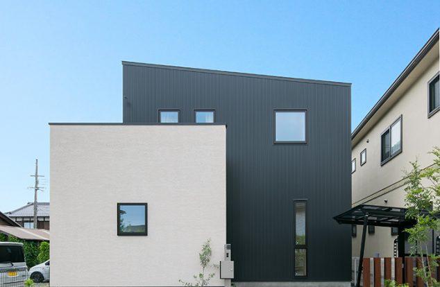 塗り壁とガルバリウムの組み合わせで四角い窓を散らした外観